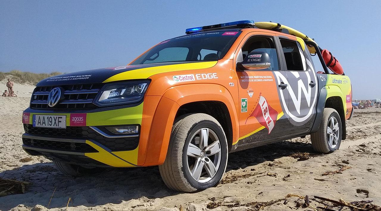 20180806 — ISN (Instituto de Socorros a Náufragos), uma das 30 novas viaturas entregue para reforco vigilancia balnear — Volkswagen Amarok V6 4-Motion — Praia da Costa Nova - Ílhavo -Portugal — Foto: Giancarlo Terrassan